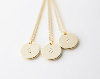 Initial necklace - Gold initial stamped necklace - personalized necklace