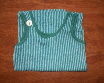 1970's Boys' Green Vertically Striped Tank Top ~ Size 6 ~ NEW OLD Store STOCK ~ Dead Stock
