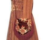 Velvet bohemian shoulder bag, cut brown velvet floral bag, Edwardian fringed bag