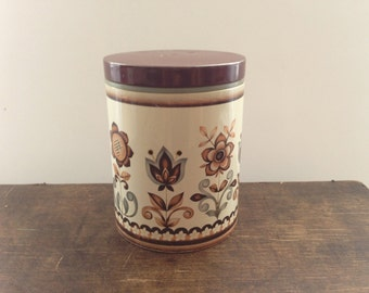 Scandinavian tin box Round floral tin box with a lid Floral brown white canister Mid century Kitchen decor Storage box
