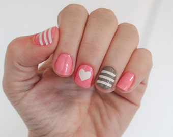 Striped Heart  -Vinyl Nail Stickers / Decals