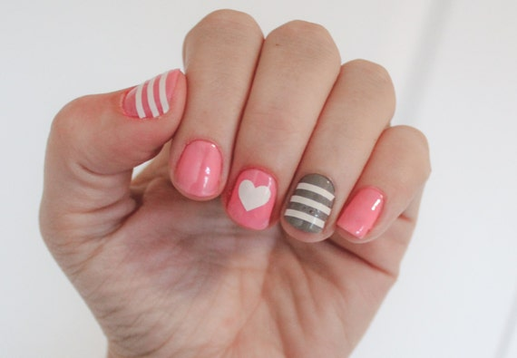 Striped Heart Vinyl Nail Stickers Decals