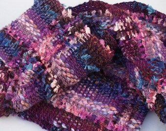 Sparkle Berry hand woven scarf