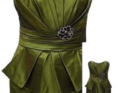 90's Strapless Satin Olive Green Evening Dress - Fits Size XSmall - (US Sz 4)
