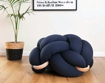 Medium Knot Floor Cushion in Dark Blue , Knot Floor Pillow pouf, pouf, cushion, pouf ottoman, Meditation Pillow,
