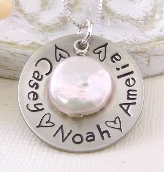 Grandmother Necklace- Mom Necklace- Mommy Jewelry- Hand Stamped Personalized Mommy Necklace- Family Necklace- Coin Pearl Necklace