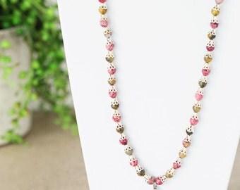 Fairy Necklace with Malachite, Berry Jade & Autumn Jasper Fantasy Jewelry Gemstone Unique