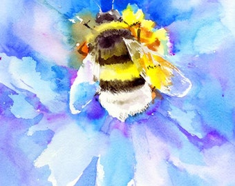Bumblebee and blue flowers, Bee art, Honey bee, Blue Yellow bright colors one of a kind original watercolor art 14 X 11 in