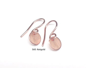 585 gold earrings plate 8mm 585 gold