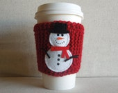 Snowman Coffee Cozy, Christmas Cup Cozy, Holiday Coffee Sleeve, Winter Mug Cozy, Gift for Her / CYBER MONDAY SALE