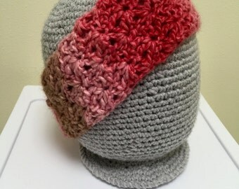 Pink, Red, and Tan Ombré Crochet Headband
