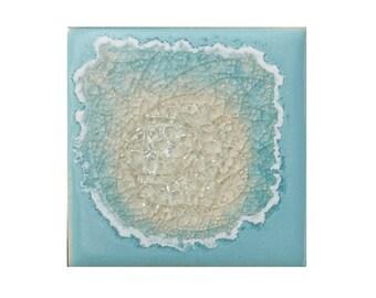 Geode Crackle Coaster: Ceramic Drink Coaster, Fused Glass Beverage Coaster, in PALE SKY