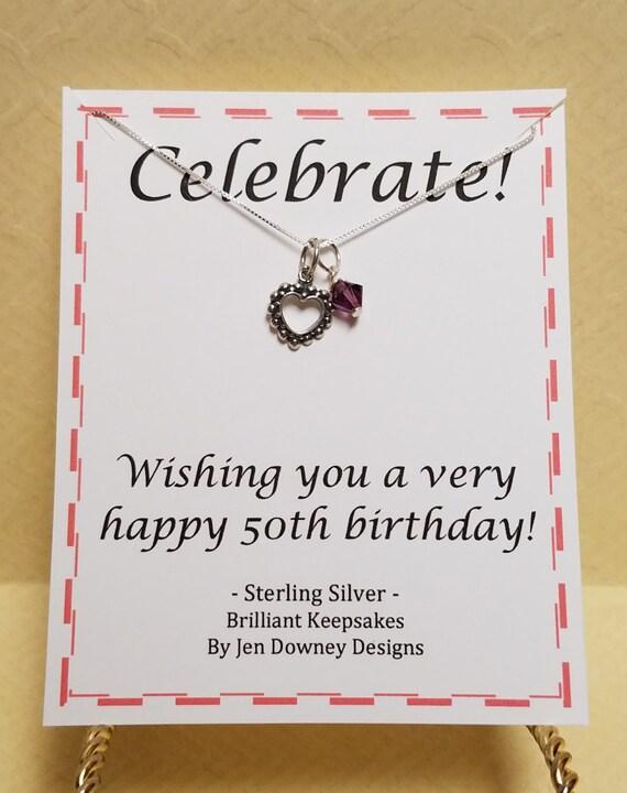 50th birthday birthstone necklace gift keepsake sterling