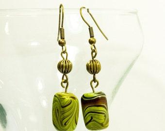 Green Earth Geometric Bronze Dangle Drop Earrings - Organic Wood Earrings