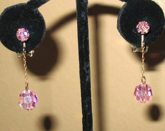 1940s Earrings, 1950s Earrings, Pink Crystal Dangle Earrings, Pink Clip On Earrings, Mid Century Drop Earrings, Faceted Pink Glass Earrings