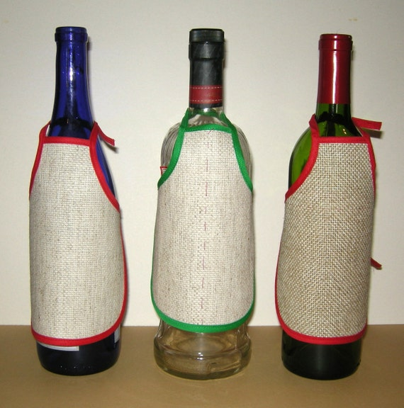 3 Blank Wine Bottle Aprons To Embroider 14 Count Cross Stitch