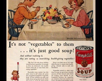 1931 Campbells Soup Ad with Kids at Dinner Table - Wall Art - Home Decor - Kitchen - Vegetable Soup - Retro Vintage Food Advertising
