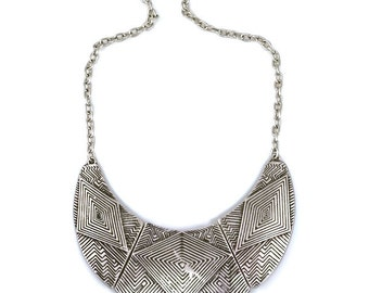 Silver Isabella Rae Nile Ethnic Tribal Statement Necklace