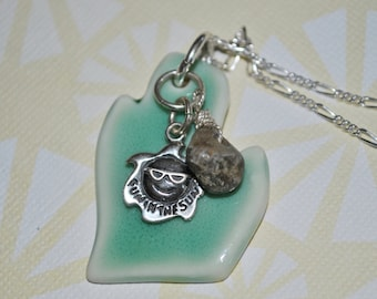 Michigan pendant with Petoskey Stone nugget and sterling sun charm, Michigan necklace, Up North, ceramic