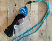 Personalized Sunglasses Lanyard - Monogrammed Blue Vinyl and White Embroidery, Choose Your Initial, Quick Ship, Glasses Holder, US Made