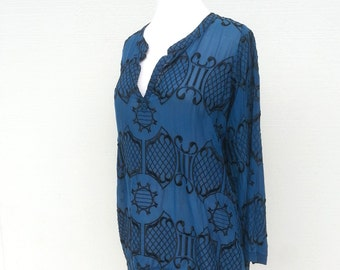 Blue Black Embroidered Long Sleeve Tunic Blouse