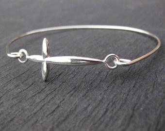 925 Sterling Silver Sideways Cross Bangle Bracelets, Sterling Silver Cross Jewelry, Christening Bracelets, Charm Bracelets, Silver Cross