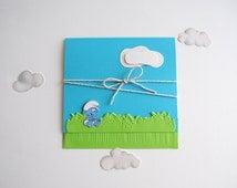 Handmade Smurfs Invitation for Baptism/ Christening . Smurfs Baby Shower Invite. Smurf Birthday Invitation. Baby Announcement