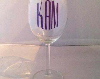 "Personalized ""monogram"" wine glass"