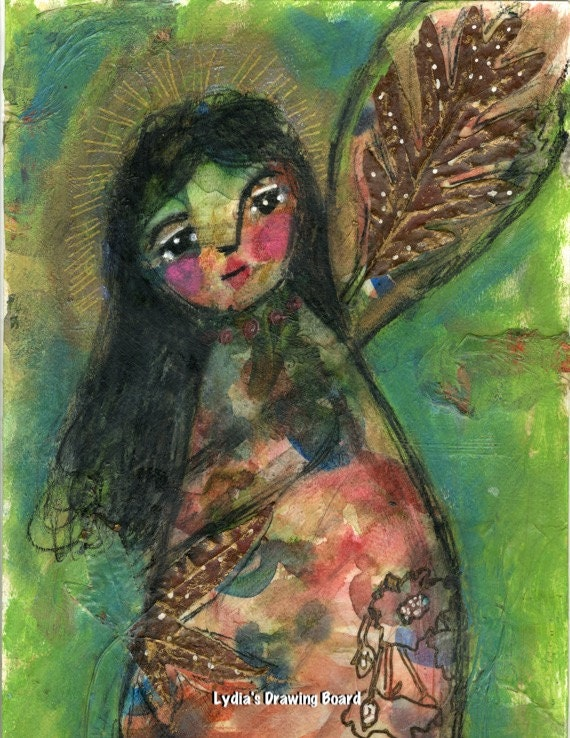 Angel, Angel Art, Angel Print, Peace, Guardian Angel, Mixed Media Art, Mixed Media, Spiritual, Spiritual Art, Autumn Leaves, Fall Leaves