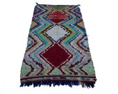 """77""""X39"""" inch Large vintage Moroccan rug woven by hand from scraps of fabric / boucherouite / boucherouette"""