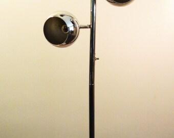 Vintage Mid Century Modern Chrome Eye Ball Floor Lamp