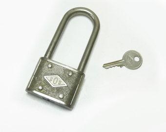 Vintage Lock with Key SOS 47 Cycle Padlock Bike Locks 1950s 1960s