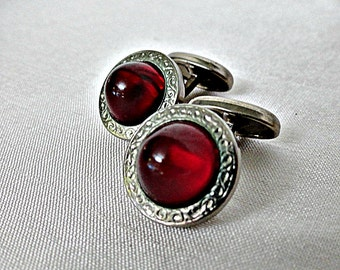Vintage Art Deco Lucite Cabochon Mens Cuff Links, Domed Ruby Red Cabochon Cufflinks, Circa 1930's Cuflinks