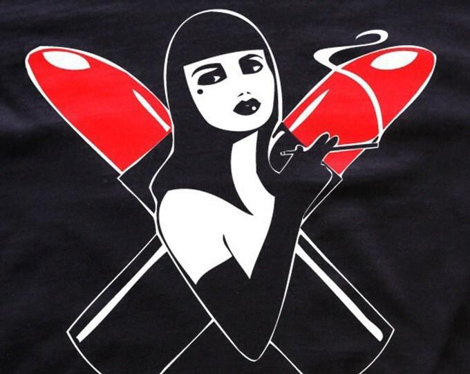 Apocalipstick T-shirt Cabaret-femme fatale-pinup clothing- lipstick tees