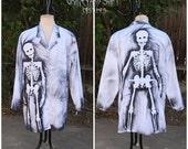 Mens or Womens zombie Lab coat Walking Dead Halloween costume white coat psycho coat mad scientist lab coat zombie professor coat size XXL