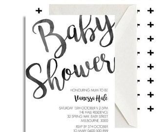 Baby Shower, Watercolour, Ink, DIY Printable Invitation, Watercolor, Baby, Baby Boy, Baby Girl, Monochrome, Pretty, Stationary, Invite