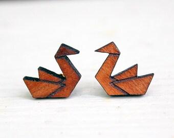 Laser cut crane earrings, wood crane earrings, laser cut crane studs, laser cut wood earrings, wood crane studs, laser cut wood studs