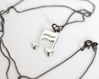 Silver Music Note Necklace - Sing Like No One Can Hear You