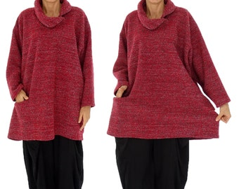 HR400R sweater 80% wool & polyester 20 Gr. 42, 44, 46, 48, 50, 52 red walking knit plus size layered look