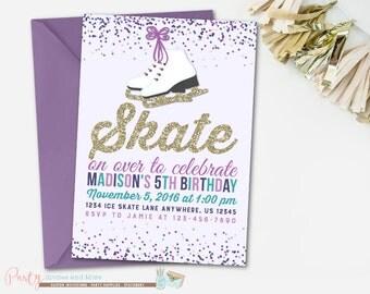 Ice Skating Invitation, Ice Skating Birthday Invitation, Winter Birthday Invitation, Ice Skate Invitation, Ice Skate Birthday Invitation