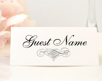 Elegant Wedding Place Card, Name Card, Escord Card, Modern, Black, Ivory, Cream, Scroll, Classy, Simple, ELEGANT SCROLL Design