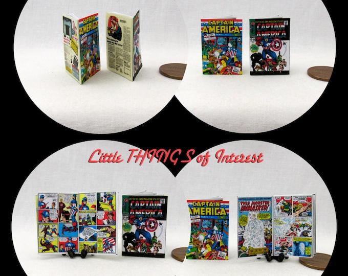 2 Miniature CAPTAIN AMERICA COMIC Books Dollhouse Miniature 1:12 Scale *2 For 1*