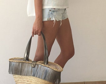 Straw Beach Bag. Leather Weekend Bag. Large Beach Tote. Summer
