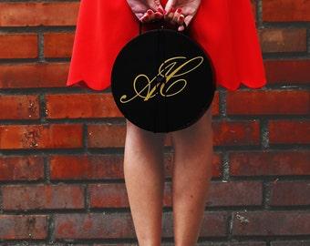 Black wooden hatbox - Vintage style hatbox - Black hatbox - Luxury hatbox