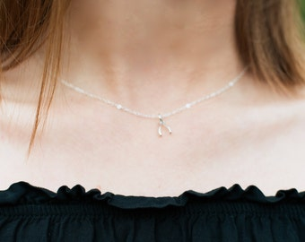 Sterling Silver Tiny Wishbone Necklace. Charm Choker, Delicate Dainty Simple Everyday Jewelry. Good Luck Pendant, Make a Wish Bone