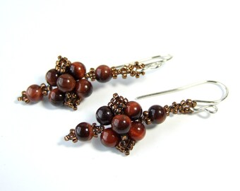 Small Red Tiger Eye Earrings, Brown Dangle Earrings Boho Earrings, Sterling Silver, Beaded Handmade Jewelry, Unique Beadwork, Gemstone Bead