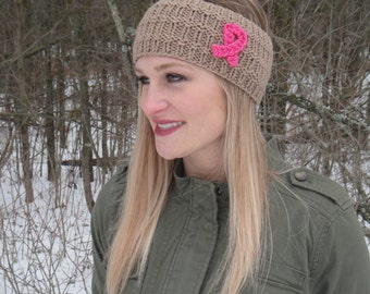 SALE: Breast Cancer Awareness Knitted Headband