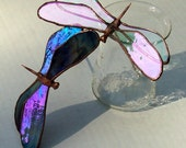 2 Stained Glass Dragonflies, Dragonfly Plant Stakes, Garden Art, Home Decor, Glass Insect, Iridescent Glass Dragonfly, Gift