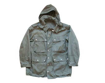 vintage military field jacket german army green military canvas sateen jacket 46 L XL