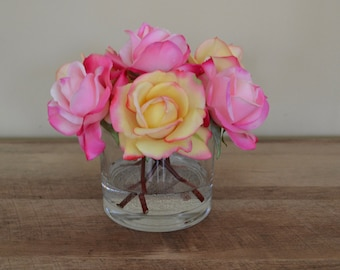 Pink & Yellow Realistic Touch Rose Flower Arrangement, in Glass Vase with Faux Water, Real Looking Flowers, Valentine's Day Flowers